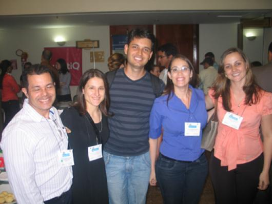Prof. Elton C. da Silva (UNB), Mariana O. Berreta (Fac. Objetivo), Marco Junio P. Filho (UFGO), Prfª Stela R. de Oliveira (UNIFAN) e Prfª Francislene L. Batista (Unifan)